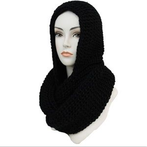 ✨Coming Soon✨ Black Crochet Hooded Scarf